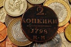 De close-up van muntstukken stock foto's