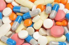 De close-up van pillen Stock Afbeeldingen