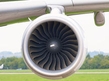 De close-up van straalmotorvliegtuigen Stock Afbeelding