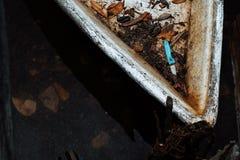 De close-up verlaat Vissersboot bij haven wordt in Terengg wordt gevestigd vastgelegd die stock afbeeldingen