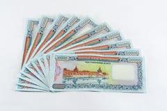 de close-upfoto van myanmar geld, achterkant, wordt het genoemd KYAT Royalty-vrije Stock Foto