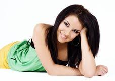 De close-upgezicht van de schoonheid van jonge vrouw Stock Afbeelding