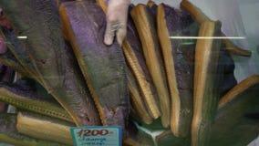 De close-uphanden zet de gerookte gezouten heilbot van Groenland in winkelvenster bij vissenmarkt stock videobeelden