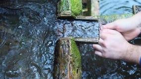 De close-upmening van een mensenwas dient een oude beek in het bos in stock video