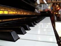 De close-upmening van het pianotoetsenbord Stock Foto