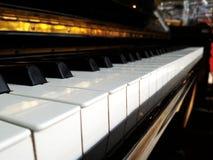 De close-upmening van het pianotoetsenbord Stock Fotografie