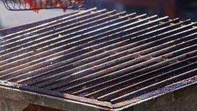 De close-uppersoon roostert vlees op brand op barbecuenet stock video