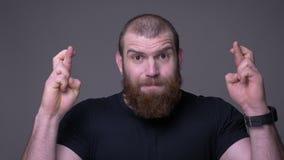 De close-upspruit van de volwassen knappe spier Kaukasische mens met baard gesturing vingers kruiste bezorgd en hoopvol het zijn stock videobeelden