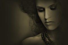 De close-upvrouw van het kunstportret Stock Foto