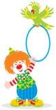 De clown en de papegaai van het circus Stock Foto's
