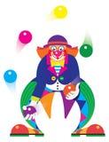 De clown jongleert met ballen in het circus Stock Afbeelding