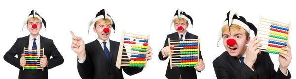 De clown met telraam op wit wordt geïsoleerd dat Stock Foto's