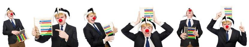De clown met telraam op wit wordt geïsoleerd dat Royalty-vrije Stock Foto