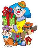 De clown van de partij met leuke dieren Stock Afbeeldingen