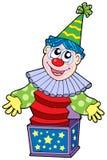 De clown van het beeldverhaal in doos royalty-vrije illustratie