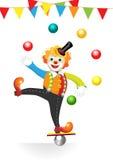 De clown van het circus met vlaggen en ballen Stock Afbeelding