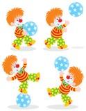 De clown van het circus speelt een bal Royalty-vrije Stock Foto