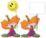 De clown van het jonge geitje met baloon en leeg teken Royalty-vrije Stock Foto's