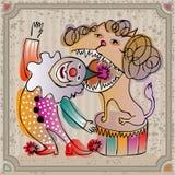 De clown van het krabbelcircus met een leeuw Stock Afbeelding