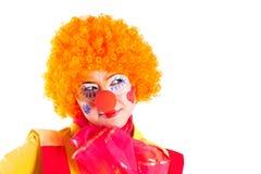 De clown van het meisje in kleurrijk kostuum Royalty-vrije Stock Foto