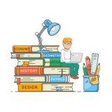 De club van boeklezers, zelfonderwijsconcept Jongenszitting op een stapel grote boeken Vlakke vectorillustratie vector illustratie