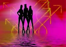 De clubmeisjes van de nacht Royalty-vrije Stock Fotografie