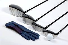 De clubs van Golg met handschoen Royalty-vrije Stock Foto's