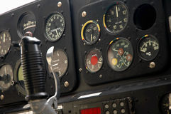De cockpit van het vliegtuig - close-up royalty-vrije stock afbeelding