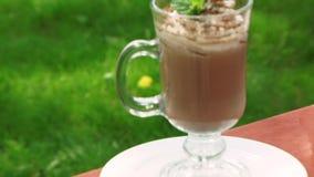 De cocktail van de chocolade stock video