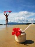 De cocktail van de kokosnoot op een strand Stock Fotografie
