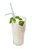 De cocktail van de melk die op wit wordt geïsoleerdn Stock Afbeeldingen