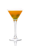 De cocktail van de perzik met groene kersen Royalty-vrije Stock Foto
