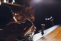 De cocktail van het brandijs met munt en kaneel royalty-vrije stock foto
