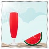 De cocktail van het de zomerstrand en watermeloenillustratie Royalty-vrije Stock Afbeeldingen