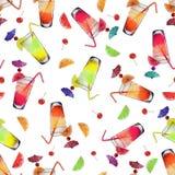 De Cocktails en de Vruchten van de patroonwaterverf royalty-vrije illustratie