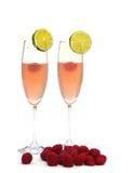 De cocktails van de framboos op wit Royalty-vrije Stock Foto