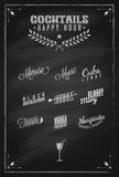 De Cocktailsetiket van het cocktails Gelukkig Uur Stock Fotografie