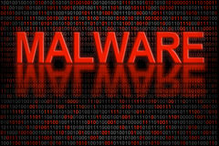 De code of de gegevens van de software besmet door malware Stock Foto