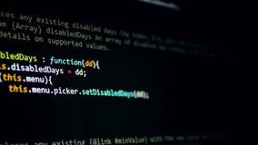 De code van het hakkersprogramma, die op het scherm lopen 4K stock video