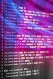 De code van HTML en CSS en kleurrijke lichteffecten Royalty-vrije Stock Afbeelding