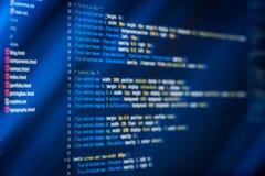 De code van HTML en CSS en kleurrijke lichteffecten Royalty-vrije Stock Afbeeldingen