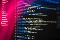 De code van HTML en CSS en kleurrijke lichteffecten Stock Foto