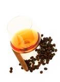 De cognac en de sigaar van de koffie stock foto