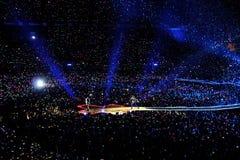 De Coldplayband presteert bij Vicente Calderon-stadion Royalty-vrije Stock Afbeelding