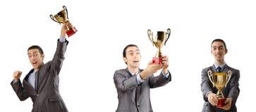 De collage die van zakenman toekenning ontvangen Stock Foto's