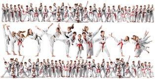 De collage over groep die jonge geitjes karatevechtsporten opleiden stock afbeelding