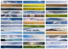 De collage van banners: hemel, grond en water Stock Afbeeldingen