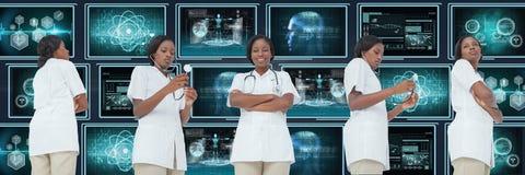 De collage van de artsenvrouw tegen medische interfaces royalty-vrije stock afbeeldingen