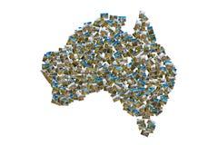 De collage van de de beeldenkaart van Australië royalty-vrije stock afbeelding