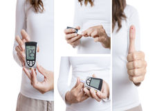 De collage van de glucosetest Stock Afbeeldingen
